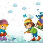 Children at play on the snow