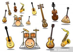 Cartoon musical instruments set