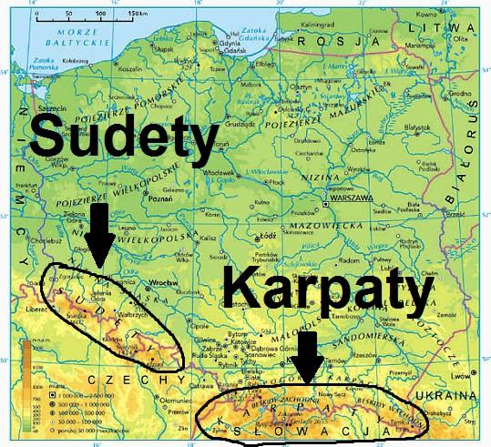 mapa Gór