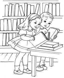 5. Biblioteka - pokoloruj obrazek