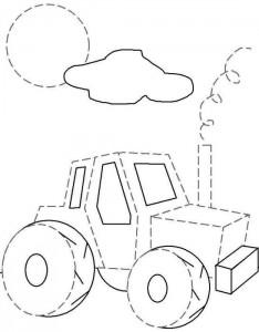 Rysuj traktor po przerywanych liniach - pokoloruj