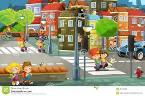 kreskówki-miasto-ilustracja-dla-dzieci-38130356